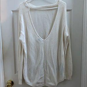 Open back cream sweater